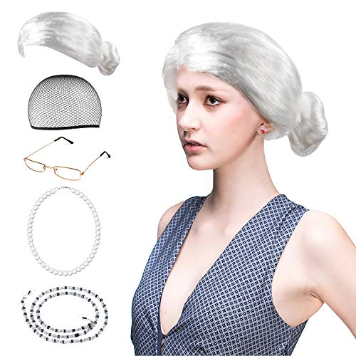 Beelittle Old Lady Costume Grandmother Accesorios Cosplay Set - Peluca Granny Peluca Cap Gafas Gafas Chains Strap Collar de Perlas - 5 Piezas (F)