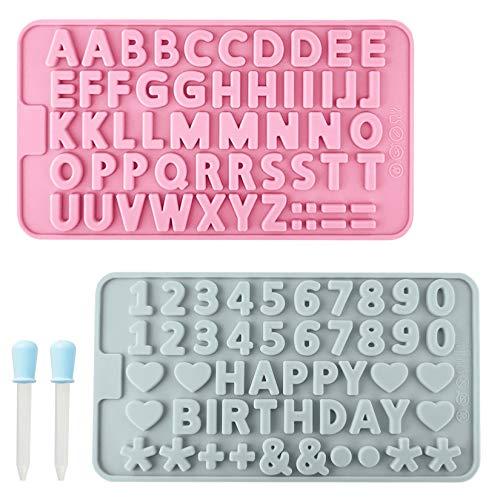Mikonca 2 stampi per cioccolatini con lettere dell'alfabeto e numero, in silicone, con 2 contagocce, adatti per decorazioni di torte, sicuro da usare in frigorifero e lavastoviglie