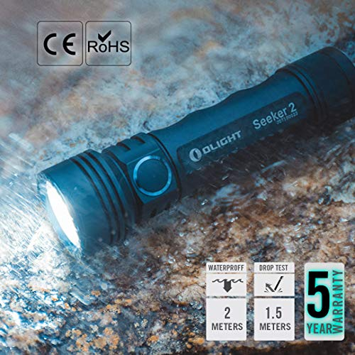 Olight Seeker 2 Max 3000 Lumens Rechargeable Torch Flashlight with 5000mAh 21700 Battery USB Magnetic Charging Cable for Dog Walking, Hiking, Climbling etc