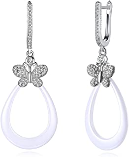 Home European and American Jewelry s925 Sterling Silver Ceramic Insect Butterfly Diamond Earrings Earrings Female (Color : White) Earrings Gift (Color : White)