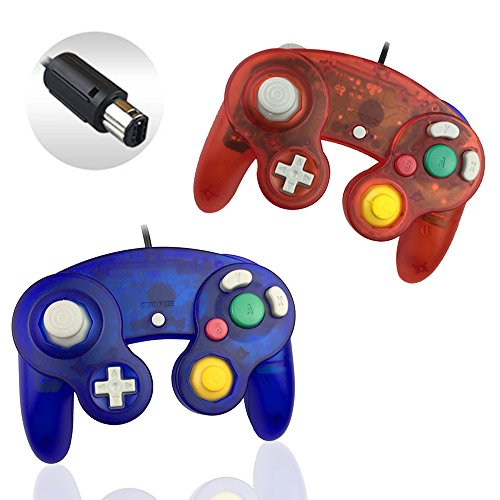 Reiso 2 Packs NGC Controllers Classic Wired Controller for Wii Gamecube (2 Packs Clear Red and Clear Blue)