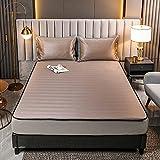 HAIBA Lujoso juego de cama de verano de seda de hielo, colchón de látex para dormir, transpirable, antideslizante, doble individual, muchos colores, 150 cm x 200 cm, color rosa