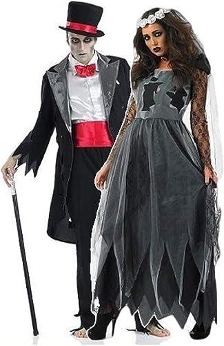 Fancy Me Damen und Herren Paare Dead verstorben Leiche Geist Zombie Braut & Br igam Halloween Horror Kostüm Outfit überGröße - Schwarz Ladies UK 16-18 & Mens XL