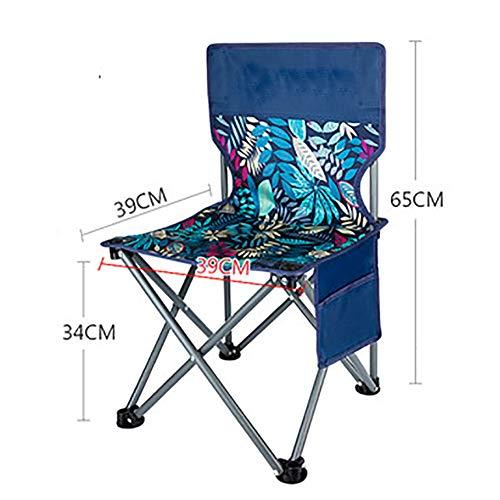 ANFAY Pliable Chaise de Camping en Plein air Poche latérale Multi-Motif Portable Appliquer La pêche Croquis Sac à Dos Voyage Plage Pique-Nique en Plein air,Leafblue