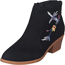 Opinionated Women's Printing Pointed Toe Low-Heeled Shoes Booties-Back Zip up Low Heel Shoes