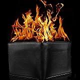 MAJGLGE - Portafoglio di fuoco in ecopelle, trucco di magia per palcoscenico, spettacoli da strada, colore nero