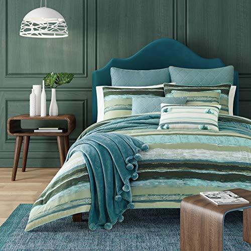 Five Queens Court Forest Cameron Watercolor Stripe 3 Piece Comforter Set, Green, Full/Queen 92x96