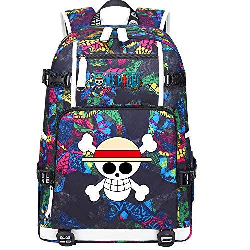 ZZGOO-LL One Piece Monkey·D·Luffy/Roronoa Zoro Mochila con para Mujer, Mochila de Viaje Suave, Mochila para Escuela, Notebook, Mochilas para niñas con USB-A
