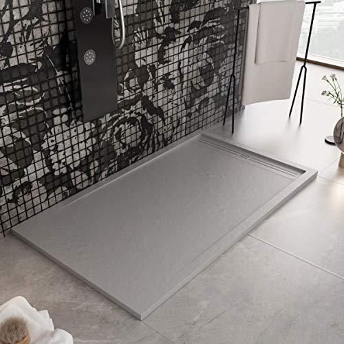 Luminosa ArredoBagno Plato de ducha Marmoresina de 70 x 130 cm, efecto piedra antideslizante con gelcoat, modelo Berlín, color gris, parrilla y desagüe incluidos