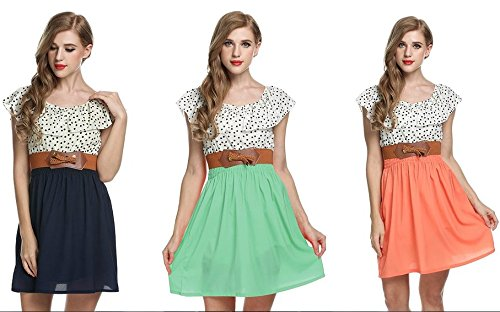 Zeagoo Damen Vintage Sommerkleid Punkt Partykleid Polka Dots O-Ausschnitt Minikleid mit Gürtel - 5