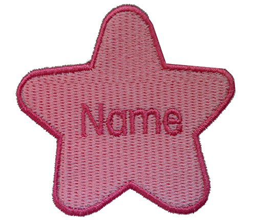 Parche en forma de estrella con nombre personalizado bordado, Pink (size 74x78mm), 1 Sew on(permanent solution)