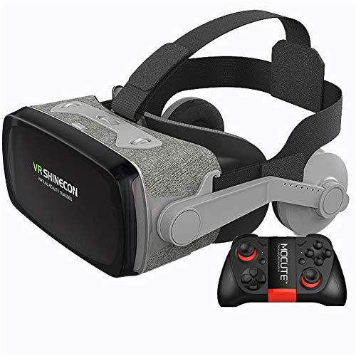 Auriculares VR, Auriculares de Realidad Virtual, Gafas VR, Gafas VR: para Videojuegos de películas VR 3D, Compatible para iPh 7/7 + / 6s / 6 + / 6/5, Samsung, Huawei, Google,D