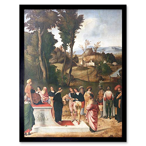 Giorgione Test Fire Moses Religious Painting Art Print Framed Poster Wall Decor 12x16 inch
