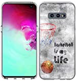 S10E Case/IWONE Designer Rubber Durable Protective Skin Transparent Cover Shockproof Compatible for Samsung Galaxy S10E Creative Basketball Writings Ball is Life