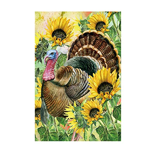 Morigins Hello Turkey Decorative Thanksgiving Harvest Fall Autumn Sunflower House Flag 28 x 40 Inch