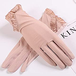 SHENTIANWEI Women's Non-slip Sunscreen Gloves Ice Silk Anti-UV Thin Section Breathable All-female Driving Short Section (Color : Pink-A, Size : One size-Five pairs)