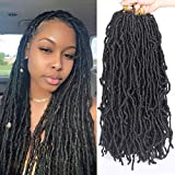 Irregular Locs Crochet Hair Pre-Looped Soft Fashion Black Locs Crochet Twist Braiding Hair Crochet Braids 100% Premium Fiber 18 Inch 6 Packs Most Natural Synthetic Hair (18 Inch,1B#)