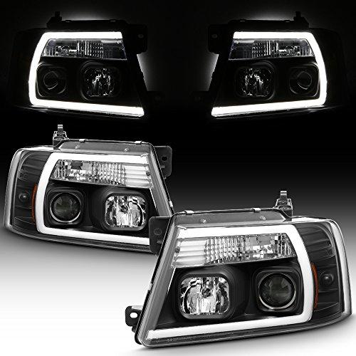 For 2004-2008 Ford F150 Full LED Daytime Running Lamp Bar Projector Headlights Black Housing Clear Lens Full Set