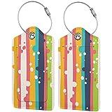 Rainbow Stripes Personalizado De Cuero De Lujo Maleta Etiqueta Set Accesorios De Viaje Etiquetas De Equipaje