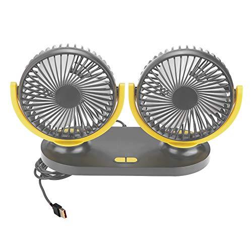Ventilador para Coche, Ventilador de Coche de Doble Cabeza USB Universal, Aire Acondicionado portátil, Ventilador automático, ventilación 12V(Amarillo grisáceo)