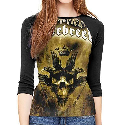 Dreiviertelärmelige T-Shirts für Frauen Hatebreed Women 's 3/4-Ärmel Raglan T-Shirt Shirt Lässig T-Shirt mit rundem Ausschnitt Schwarz einzigartiges Design