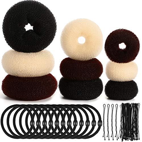 9 Pcs Donut Hair Bun Maker Shaper Foam Sponge Doughnut Bun Ring Style Set with 12 Pcs Hair Elastic Bands Ties and 32 Pcs Hair Bobby Pins for Women Girls Kids (Black, Brown and Beige)