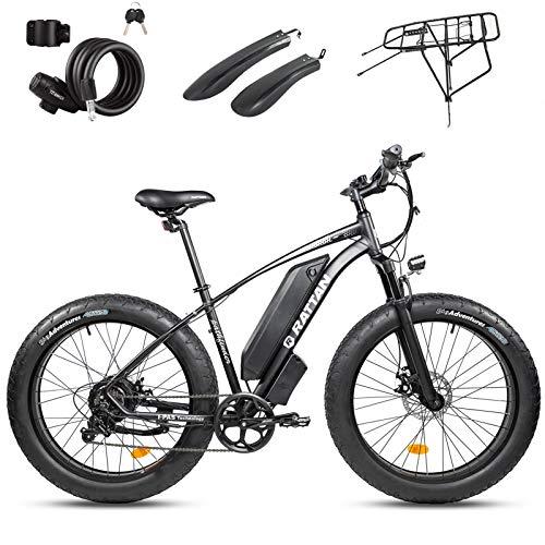 Rattan 750W 500W 48V Fat Tire Electric Bike 26'/27.5' Fat Tire 28MPH/25MPH High Speed Bike for Men Snow/Mountain Off-Road Bikes 13AH E-Bike Shimano 7 Speed Electric Bicycle (Pathfinder 750W Black)