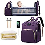 SALIFA Diaper Bag Backpack with Changing Station, Nappy Baby Bags with Foldable Baby Bed & Portable Changing Pad, 900D Waterproof Crib Infant Sleeper Nest for Girl Boy (Purple)