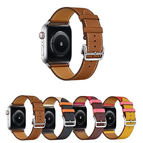 Pulseira de Couro Single Tour para Apple Watch 40mm e 38mm - Marca Ltimports (Fauve Barenia)