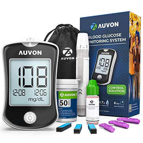AUVON DS-W Blood Sugar Test Kit with Control Solution (Code Free), High-Accuracy Diabetic Blood Glucose Monitor Kit with 50 Test Strips, 50 30G Lancets, Lancing Device