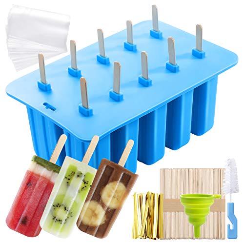 MojiDecor Silikon Eisformen, 10 Popsicle Formen Set, EIS am Stiel Formen mit 50 Einweg-Tasche, 50 Holzstab, 1 Silikontrichter und 1 Reinigungsbürste -100% Lebensmittel Silikon- BPA frei