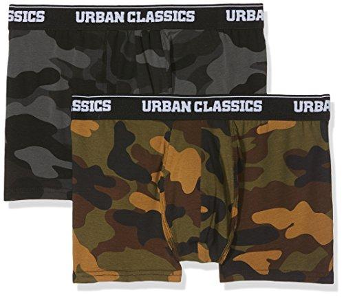 Urban Classics Herren 2-Pack Camo Boxer Shorts Boxershorts,, per pack Mehrfarbig (woodcamo + darkcamo 01362), Medium (Herstellergröße: M)