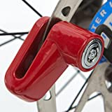 Safety Disc Lock Motorcycle Bike Anti-theft Wheel Disc Brake Lock Padlock Waterproof Loud for Motorcycle Bike Scooters Mountain Road MTB Cycling Rotor Disc Brake Wheel Lock with Two Keys (Red)
