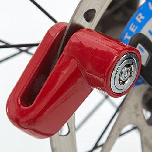 Safety Disc Lock Motorcycle Bike Anti-theft Wheel Disc Brake Lock Padlock Waterproof Loud for Motorcycle Bike Scooters Mountain Road MTB Cycling Rotor Disc Brake Wheel Lock with Two Keys (Red)