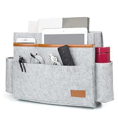 ZWOOS Felt Bed Pocket Bedopbergtas, Bedkant Caddy voor Home Bed Rails, Bank, Stapelbedden (donkergrijs)