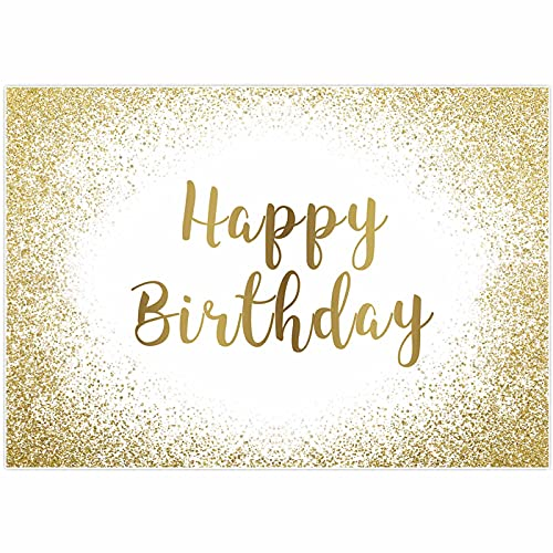 Allenjoy 7x5ft Gold and White Happy Birthday Party Backdrop Adults Women Bday Golden Glitter Spots Dots Decoration Cake Table Banner Supplies Photography Background Photo Booth Props
