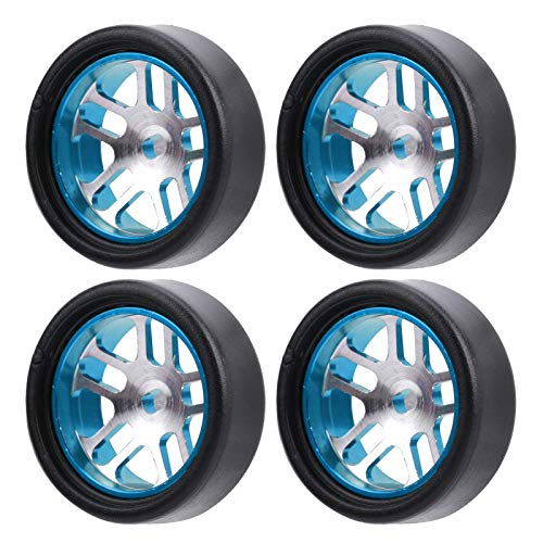 Dilwe Neumático Slicks para Coche de 4 Piezas 1/28 RC, neumático de Carreras de aleación de Aluminio de Agarre máximo y Piezas de Repuesto de Ruedas de plástico 20x8mm(Azul)