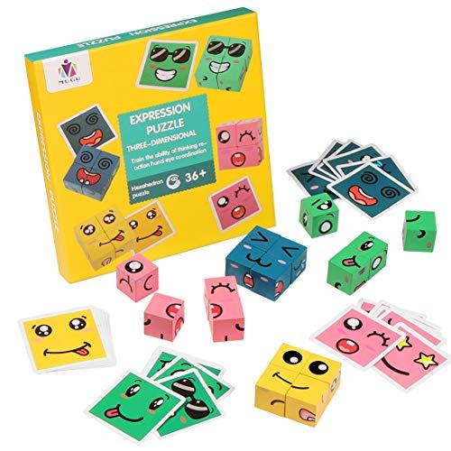 O-Kinee Juguete de Madera de Expresión, Montessori Juguetes Niños, Expression Puzzle Building Cubos, Juguetes de Madera Puzzle, Rompecabezas Regalo para Infantiles Niños en Edad Preescolar (B)