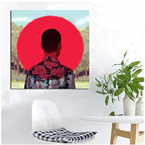 sjkkad rode zon bos mannen silhouet module afbeelding poster woonkamer linnen hd afdrukken afbeelding muurkunst schilderij decoratie 50x50 cm geen lijst