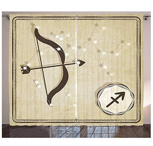 MUXIAND Zodiac Boogschutter Gordijnen Handgetekende Constellatie met Silhouette van een boog en pijl Woonkamer Slaapkamer Raam Drapes Eggshe