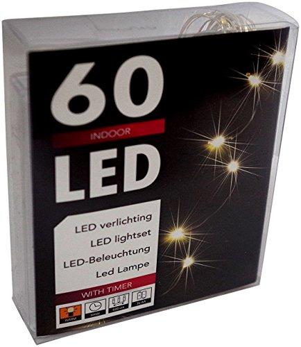 Led Lichterkette Batterie mit Timer 60 Leds Micro Tropfen auf biegsamen Silberdraht