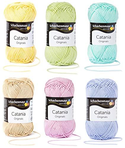 6x50 Gramm Schachenmayr Woll-Set Baumwollgarn Catania zum Stricken und Häkeln inkl. detallierter Anleitung für EIN Meerschweinchen (Pastell Mix)