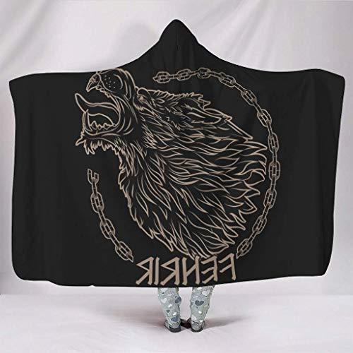 Leisure-Time Suave con Capucha Nordic Viking Fenrir Wolf Cadenas Mitología Estampado Cálido Invier