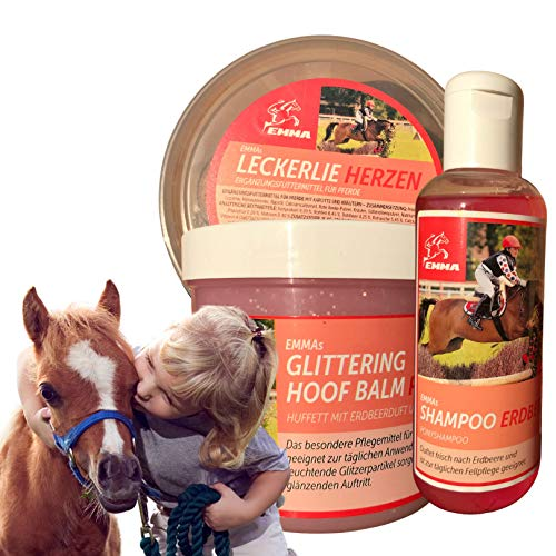 EMMA  Horse Care - Set 3 Partes, Horse Treat, champú para Caballos en Rosa con Olor a Fresa, Grasa Brillante para Cascos en Rosa para la Caja de Limpieza