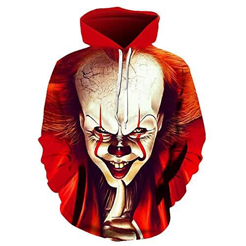 nobrand Roter Clown 3D-Digitaldruck Loser Body mit Kapuze für Männer
