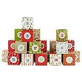 Papierdrachen 24 cajitas de Calendario de Adviento- Motivo Rojo Verde Beige - para Rellenar - Navidad 2018