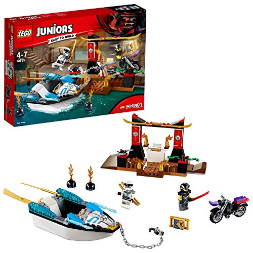 LEGO 10755 Juniors Zane's Ninja Boat Pursuit Building Set, Action Bath Toy, Various