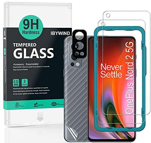 Ibywind Cristal Templado para Oneplus Nord 2 5G, [2 Piezas],con Metálico Protector de Lente de Cámara,Atrás Pegatina Protectora Fibra de Carbono, Kit de instalación fácil
