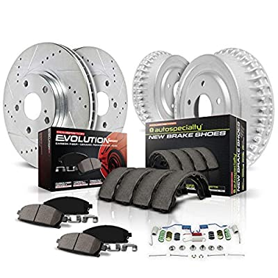 Power Stop K15263DK Front and Rear Z23 Carbon Fiber Brake Pads with Drilled & Slotted Brake Drums Kit
