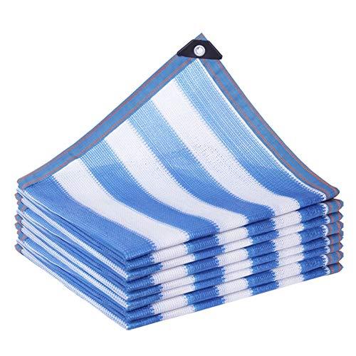 PeiQiH 85% Sonnenschutztuch,sonneblock Sonnenschutznetz Mit Ösen,uvbeständiges Garten Schattierungsnetz,Sonne-Proof Net Für Terrasse Carport Pergola Blau+weiß 4x4m(13x13ft)